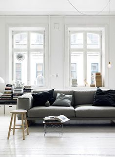 Grey on white with the Muuto Rest Sofa http://www.nest.co.uk/product/muuto-rest-three-seater-sofa and Vitra LTR Occasional Table http://www.nest.co.uk/product/vitra-ltr-occasional-table