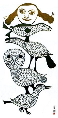 Birds and Woman's Face-Kenojuak