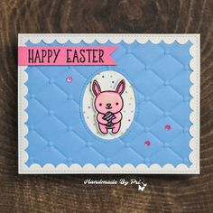 Cute Bunny Easter Cards Happy Easter, Easter Bunny, Pretty Pink Posh, Glitter Cardstock, Purple Glitter, Cute Bunny, Distress Ink, I Card, Cardmaking