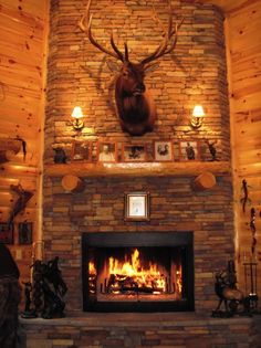 Elk mount fireplace - photo#3
