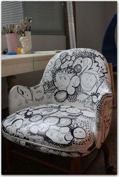 Customise a DIY sharpie art chair. Desk Chair Makeover, Furniture Makeover, Diy Furniture, Furniture Design, Modern Furniture, Refurbishing Furniture, Chair Redo, Ikea Chair, Small Furniture