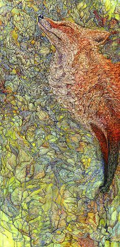 Scenting Sunshine ~ artist Col Mitchel #fox #red_fox #Vulpes_vulpes