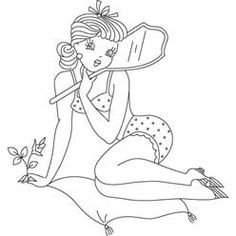 Free Embroidery Pattern 'Pin Up Girl Holding Mirror' Embroidery Works, Embroidery Transfers, Vintage Embroidery, Embroidery Applique, Cross Stitch Embroidery, Embroidery Designs, Colouring Pages, Coloring Books, Applique Patterns