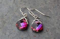 Volcano Swarovski crystal briolette earrings by WinterberryJewelry