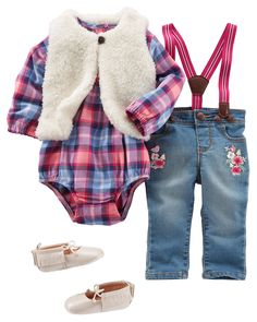 Great for those chilly fall days, this outfit features oh-so-cute suspenders with embroidered floral details. And with a faux fur vest thrown on top, she'll be keeping warm in style! Toddler Vest, Toddler Girl Outfits, Baby Outfits Newborn, Kids Outfits, Cute Outfits, Girls Christmas Outfits, Baby Girl Christmas, Girls Fall Dresses, Baby Dresses