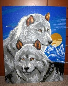 Wow, ministeck Fuse Beads, Perler Beads, Beaded Cross Stitch, Wolf, Beaded Animals, Plastic Canvas Patterns, Pixel Art, Diy And Crafts, Crochet