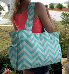 Mint Chevron Tote Diaper Bag by WhiteElmBoutique on Etsy Pregnancy Crafts, Mint Chevron, Audrey Rose, Mint Nursery, Indie Brands, Jelly Beans, The Ordinary, Canvas Tote Bags, Vegan Leather