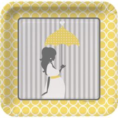 The party guests will be impressed with the sophisticated patterns and colors on the Mod Baby Shower 7 Inch Plates. Each sturdy square plate features a classy grey and white striped backdrop overlaid with a silhouette of a pregnant woman holding a yellow umbrella. Surrounding the expectant mother is a beautiful buttery yellow border printed with a delicate white circle design.