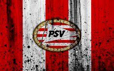Download wallpapers FC PSV Eindhoven, 4k, Eredivisie, grunge, PSV, logo, soccer, football club, Netherlands, PSV Eindhoven, art, stone texture, PSV Eindhoven FC