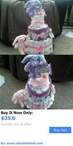 Baby Diaper Cakes: 3 Tier Girls Bunny Rabbit Diaper Cake Baby Shower Centerpiece Gift BUY IT NOW ONLY: $35.0 #ustylefashionBabyDiaperCakes OR #ustylefashion
