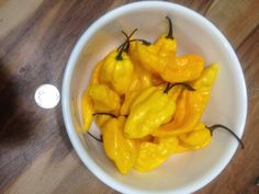 Yellow Bhut Jalokia peppers (Ghost Peppers)