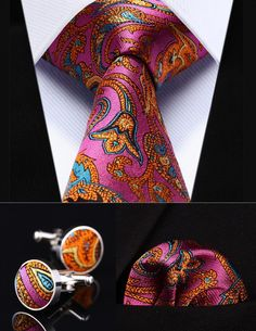 "Pink Orange Paisley 3.4"" Silk, Handkerchief, and Cufflinks Set  Price: 29.80 & FREE Shipping  #mensclothing|#mensfashion|#mensgifts|#accessories"