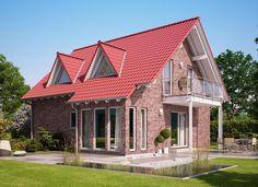MODERNES FERTIGHAUS Solution134 V2 Living Haus - Einfamilienhaus Satteldach 5 Zimmer Fassade Klinker Stein ( Haus Ideen HausbauDirekt.de )