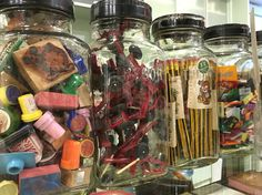Glass container of stationery is a traditions of stationery shops in Hong Kong.⚱✏️