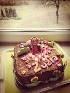Masha and the Bear biryhday cake for 4 y.o. girl...chocolate cake with blackcurrant and banana cream