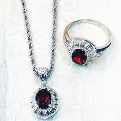 This Vintage Garnet Necklace and Ring In Sterling Silver with crystal accents is timeless in design, an instant heirloom jewelry set! Ring is size 9.5. Necklace is 18. About garnet. Garnet is known as a gemstone of passion, sensuality, sexuality, romantic love, intimacy, positive