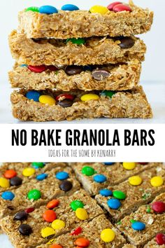 Treat your kids to an easy homemade snack after school. These No Bake Granola Bars with M&Ms, oatmeal and peanut butter are delicious and simple to make. No Bake Granola Bars, Homemade Granola Bars, Lunch Snacks, School Snacks, Easy Homemade Snacks, Peanut Butter Cup Cookies, Oatmeal Recipes, Protein Snacks, Easy Food To Make