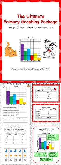 This graphing package has 45 printable pages (worksheets, posters, word wall words, a graphing math center, and a 2-page test) to use in your primary classroom. It is ideal for second grade, but some activities can be used in first and third grades. Check out the preview!