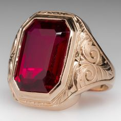 Vintage Jewelry Rate this from 1 to Vintage Jewelry Vintage Created Ruby Bold Mens Ring Green Gold, Ruby Intaglio Antique Mens RingVintage Created Ruby Ruby Ring Vintage, Vintage Rings, Ruby Jewelry, Men's Jewelry, Jewellery, Schmuck Design, Antique Rings, Bracelets For Men, Bracelet Men