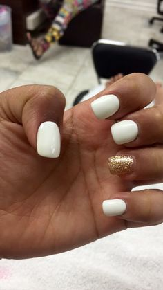 White matte square short acrylic nails w/gold accent