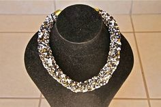 African Zulu Beaded Necklace -  ROPE  - Twisted white/brown/gold/black by Hadeda on Etsy