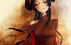 mujer japonesa rerpresentando el amor