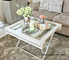 One More Time Events...: Rustic Vintage Window Coffee Table from a luggage rack