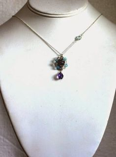 Amethyst with aqua on silver; mandala for clearing the aura by Licia Atelier