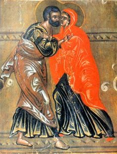 December 9 / December 22 - The Meeting of Joachim and Anna (The Conception by St. Anna of the Most Holy Theotokos) Orthodox Calendar, Lives Of The Saints, Anna, Santa Ana, Spirituality Books, St Anne, Russian Orthodox, Medieval Art, Sacred Art