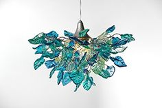 Blue Chandelier - Flowers and Leaves Lamp Shade - Hanging...