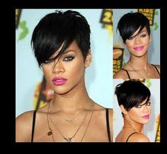 Best Selling Rihanna hair wigs black short straight synthetic wig