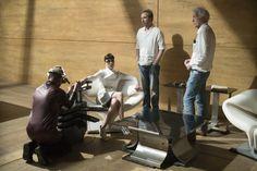 Sylvia Hoeks, Director Denis Villeneuve and DP Roger Deakins on the set of Alcon EntertainmentÕs sci fi thriller BLADE RUNNER 2049