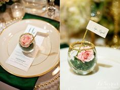 Sweet roses in a glass hold place cards