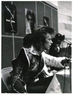 David Bowie and the Spiders from Mars at a press conference at RCA Studios, NYC, 11 December 1972