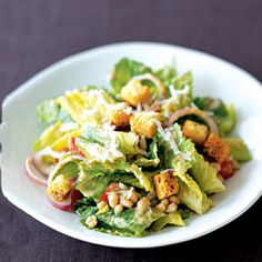 Creamy Caesar Salad With White Beans, packed with fiber and 100% vegetarian | health.com