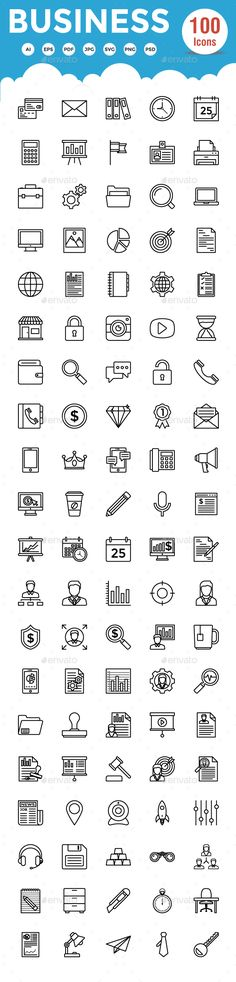 100 #Business Line #Icons - Business Icons Download here:  https://graphicriver.net/item/100-business-line-icons/19161516?ref=alena994