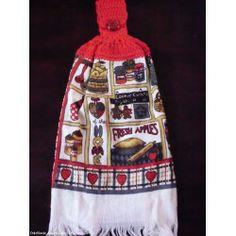 Hand Crochet Top Hand Kitchen Dish Towels NEW - HEARTS/COOKIES