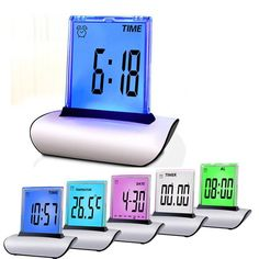 Humor 1pcs A Hot New Multicolor Led Color Changing Digital Pyramid Mood Alarm Clock Thermometer Electronic Table Desktop Clocks Gifts Selling Well All Over The World Home & Garden