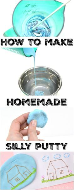 This is how to make homemade play putty at home! Just as you remember it from your childhood you can transfer images easily and play with it as you did years ago in that little red egg. You'll be amazed just how easy it is to make silly putty yourself. Fun for kids once it's done, and a great rainy day activity. #homemade #putty #play #silly #diy #easy #recipe #activities #kids #crafts via @thetypicalmom