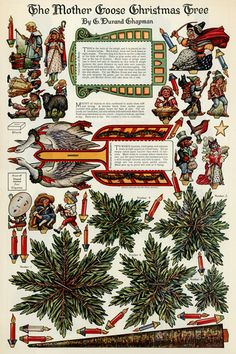 Mother Goose Christmas Tree - Illustrated by C. Durand Chapman 1913 <3 | paper printable, via Hedgehog Studio