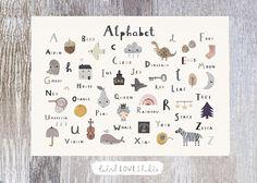 Alphabet Print - Nursery Print - Nursery Wall Art - Children's Prints - Children's Wall Art - Alphabet Poster - Alphabet Wall Art