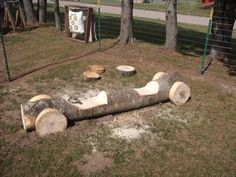Outdoor wood log play car
