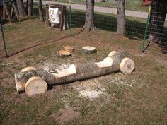Outdoor wood log play car