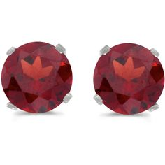 14k White Gold Round Garnet Stud Earrings (CM-E1471XW-01) ($119) ❤ liked on Polyvore featuring jewelry, earrings, round earrings, 14 karat gold stud earrings, garnet jewelry, garnet stud earrings and 14k jewelry