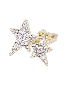 STAR PAVE HINGE RING - VR0045-GOLD CLEAR