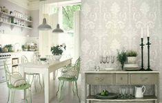 Küche Wandverkleidung Tapeten Metallstühle hellgrün