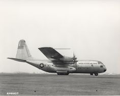 Archived photo of the YC-130 during its ferry flight from Burbank, California, to Edwards Air Force Base August 23, 1954. (U.S. Air Force photo)