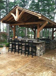 Modern Backyard Kitchen Ideas Do you want to build a back yard cabin? You need to determine what your needs are before you start laying the framework for your modern backyard kitchen. Backyard Pavilion, Outdoor Pavilion, Backyard Gazebo, Rustic Backyard, Backyard Patio Designs, Modern Backyard, Pergola Patio, Backyard Landscaping, Patio Ideas