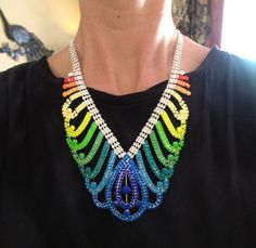 Neon Rainbow Hand Painted Rhinestone Necklace  by JenHoodenpyle, $53.00