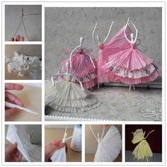 For all the we bring a stunning new project for you - Use Tissue to Make Dancing Figures, just by using some wire and tissue paper. You can create these beautiful dancing figures and will be great to use as table features. Papel Tissue, Tissue Paper Crafts, Diy Paper, Easy Diy Crafts, Cute Crafts, Crafts For Kids, Fall Crafts, Dance Crafts, Dancing Figures